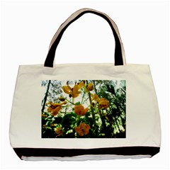 Yellow Flowers Twin-sided Black Tote Bag