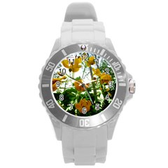 Yellow Flowers Plastic Sport Watch (Large)