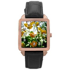 Yellow Flowers Rose Gold Leather Watch