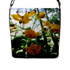 Yellow Flowers Flap Closure Messenger Bag (Large)