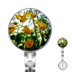 Yellow Flowers Stainless Steel Nurses Watch