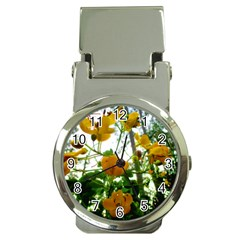 Yellow Flowers Money Clip With Watch