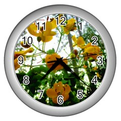 Yellow Flowers Wall Clock (Silver)