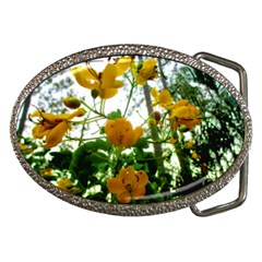 Yellow Flowers Belt Buckle (oval)