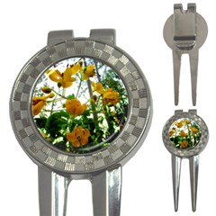 Yellow Flowers Golf Pitchfork & Ball Marker