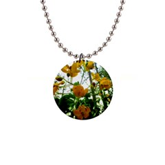 Yellow Flowers Button Necklace