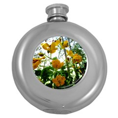 Yellow Flowers Hip Flask (round)