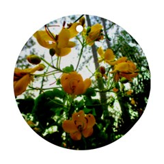 Yellow Flowers Round Ornament (two Sides)