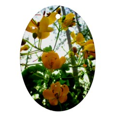 Yellow Flowers Oval Ornament (two Sides)