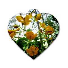 Yellow Flowers Dog Tag Heart (Two Sided)
