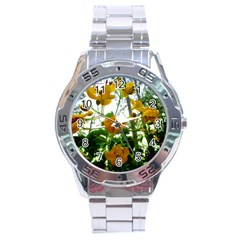 Yellow Flowers Stainless Steel Watch