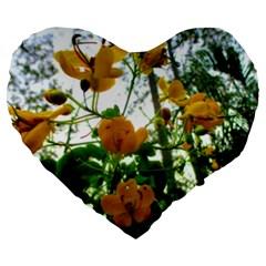 Yellow Flowers 19  Premium Heart Shape Cushion