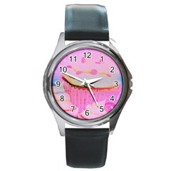 Cupcakes Covered In Sparkly Sugar Round Leather Watch (silver Rim)