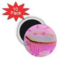 Cupcakes Covered In Sparkly Sugar 1 75  Button Magnet (10 Pack)