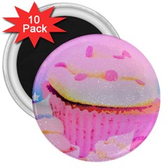 Cupcakes Covered In Sparkly Sugar 3  Button Magnet (10 pack)