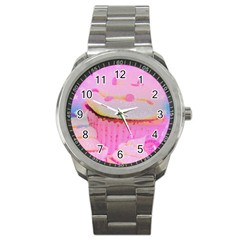 Cupcakes Covered In Sparkly Sugar Sport Metal Watch