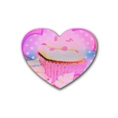Cupcakes Covered In Sparkly Sugar Drink Coasters (Heart)