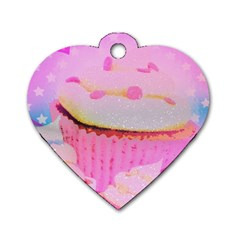 Cupcakes Covered In Sparkly Sugar Dog Tag Heart (One Sided)