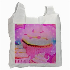 Cupcakes Covered In Sparkly Sugar White Reusable Bag (One Side)