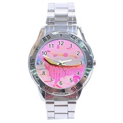 Cupcakes Covered In Sparkly Sugar Stainless Steel Watch