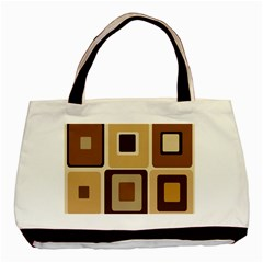 Retro Coffee Squares Twin-sided Black Tote Bag