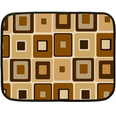 Retro Coffee Squares Mini Fleece Blanket (Two Sided)