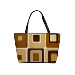 Retro Coffee Squares Large Shoulder Bag