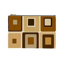 Retro Coffee Squares Cosmetic Bag (large)
