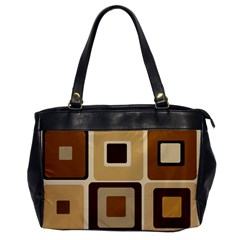 Retro Coffee Squares Oversize Office Handbag (one Side)