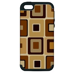 Retro Coffee Squares Apple Iphone 5 Hardshell Case (pc+silicone)