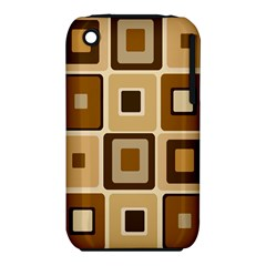 Retro Coffee Squares Apple iPhone 3G/3GS Hardshell Case (PC+Silicone)