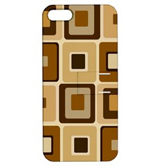 Retro Coffee Squares Apple Iphone 5 Hardshell Case With Stand