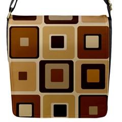 Retro Coffee Squares Flap Closure Messenger Bag (Small)