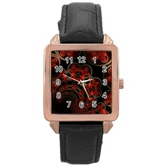 Phenomenon, Orange Gold Cosmic Explosion Rose Gold Leather Watch