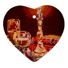 Bookworm Needlepoint Print Heart Ornament