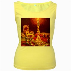 Bookworm Needlepoint Print Women s Tank Top (Yellow)