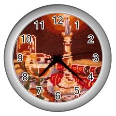 Bookworm Needlepoint Print Wall Clock (Silver)