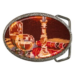 Bookworm Needlepoint Print Belt Buckle (oval)