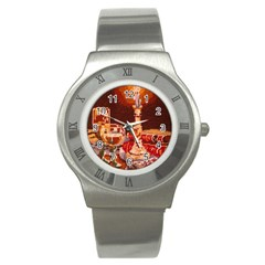 Bookworm Needlepoint Print Stainless Steel Watch (slim)