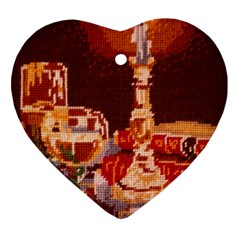 Bookworm Needlepoint Print Heart Ornament (two Sides)