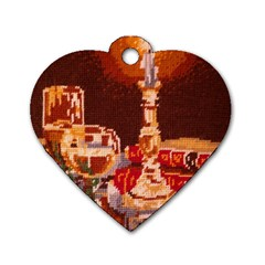 Bookworm Needlepoint Print Dog Tag Heart (Two Sided)