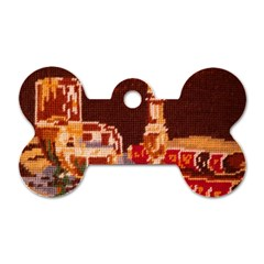 Bookworm Needlepoint Print Dog Tag Bone (Two Sided)