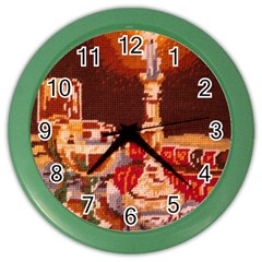 Bookworm Needlepoint Print Wall Clock (Color)