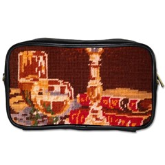 Bookworm Needlepoint Print Travel Toiletry Bag (Two Sides)