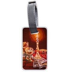 Bookworm Needlepoint Print Luggage Tag (one Side)