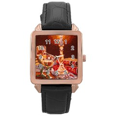 Bookworm Needlepoint Print Rose Gold Leather Watch