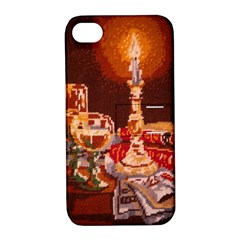 Bookworm Needlepoint Print Apple Iphone 4/4s Hardshell Case With Stand