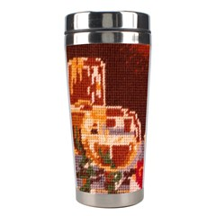 Bookworm Needlepoint Print Stainless Steel Travel Tumbler