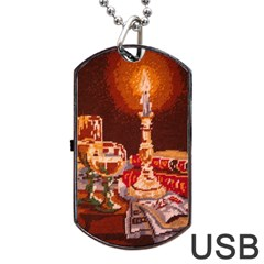 Bookworm Needlepoint Print Dog Tag USB Flash (Two Sides)