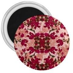 Retro Vintage Floral Motif 3  Button Magnet